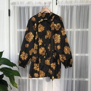 Issac Mizrahi Live QVC Mustard Floral Swing Jacket